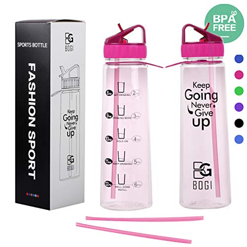 67eea4a1c9 BOGI 900ml Motivational Water Bottle, BPA Free Sports Straw Water Bottles  with Time Marker-