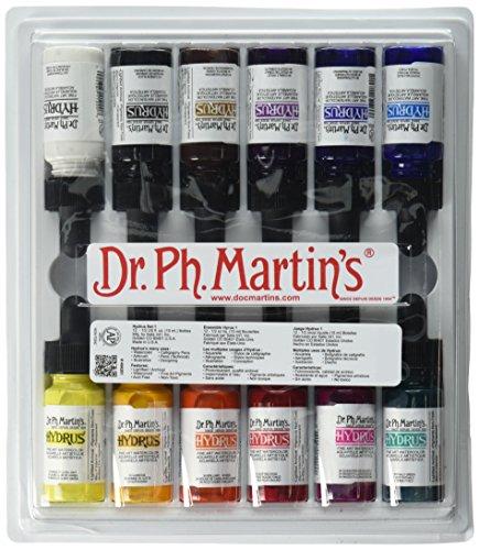 Dr Ph. Martin's Hydrus Fine Art Watercolor, 0.5 oz, Set of 12 (Set 1) - Fine Art Ink