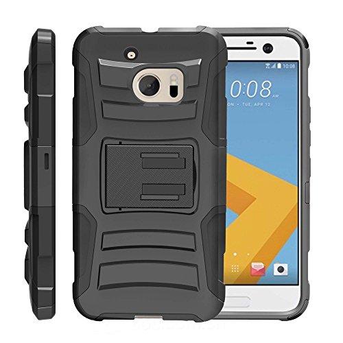MINITURTLE Advanced Schicht Rugged strapazierfähige Abdeckung für [HTC 10Case| HTC Lifestyle Case| HTC One M10Fall] [Clip Armor] stoßfest Silikon Fall Integrierter Ständer Holster, Schwarz (Htc One Boost Mobile Telefon)