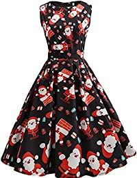 iBaste Womens Slim Fit Retro Round Neck Sleeveless Dresses 1950S Vintage Cocktail Party Evening Swing Dress