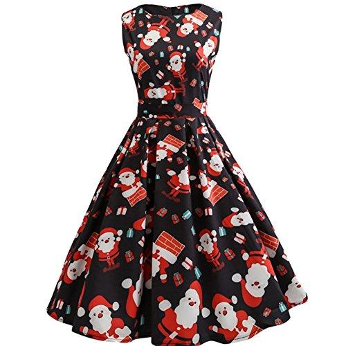 iShine Weihnachten Kleid Damen Ärmellos Rockabilly Kleid Halloween Festlich Kleid für damen Swing Kleid Partykleid (Kleid Weihnachten Frauen)