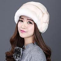 feieb Bavaglia sciarpa calda, martore Cappelli con visiera cappello orecchio fiori consolidamento Stingrays, Pelliccia Cappello invernale, S53–55cm, colore: Albicocca