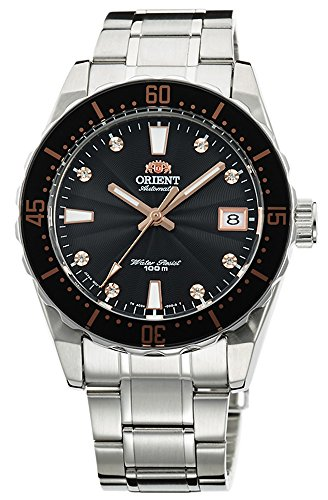 ORIENT Automatic Sports 100M Superior Ladies Watch Black Guilloche Dial Steel FAC0A001B