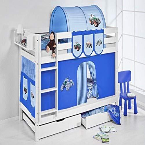 Lilokids Etagenbett Jelle TÜV und GS geprüft Trecker, Hochbett mit Vorhang und Lattenroste Kinderbett, Holz, blau, 208 x 98 x 150 cm