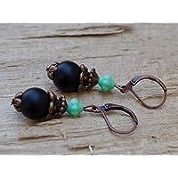 Vintage Ohrringe mit Glasperlen - schwarz matt, türkis & kupfer