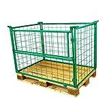 E.S.B. Gitteraufsatzrahmen Gitterbox 1200x800x1000 mm Nutzhöhe 1000 mm grün faltbar Gitterboxen für Euro-Paletten