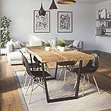 KrokWood Lisbon Massivholz Esstisch in Eiche mit Metallbein FSC100% massiv Tisch geölt Eichenholz Esszimmertisch für Küche praktischer Küchentisch Holztisch vom Hersteller(180x100x75cm, ohne Sente)