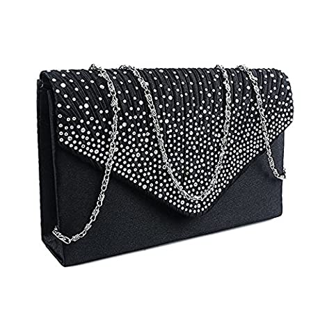everso Womens Ladies Diamante Evening Clutch Bag Satin Envelope Handbag Bridal Wedding Bag Black