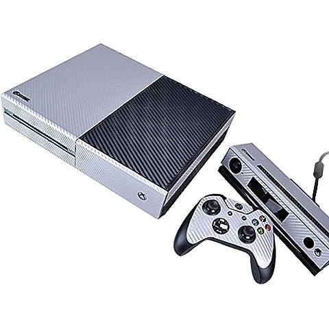 Pandaren® pieno maschere della pelle skin per le Xbox One console x 1 e controller x 2 e kinect x 1(Particelle di carbonio argento)