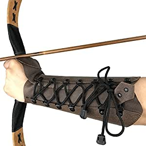 longbowmaker Archery Arm Guard Junior Adjustable Cow Leather Antique Bracer 9.45 Inches Wristband