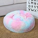 Lukame✯ Sacco A Pelo Invernale Rotondo Per Cani Gatto Caldo Morbido Peluche Letto Per Animali Domestici Letto Rilassante (Multicolore, M)