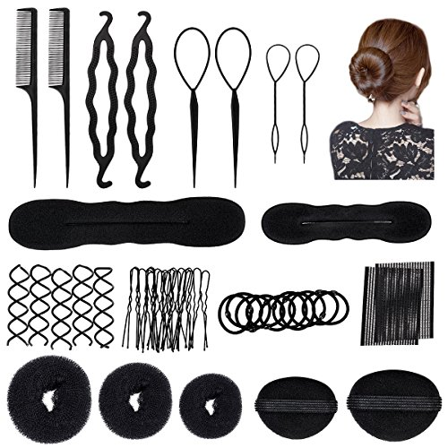 OZUAR 42PCS Haare Frisuren Set, Haar Zubehör styling set, Frisurenhilfe Set Hair Styling Accessories Kit Haar Styling Werkzeug, Mädchen Magic Haar Clip Styling Pads Schaum Hair Styling tools für DIY