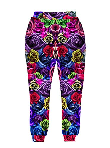 Hijort Compresión Imprimir Colorido Rosas Flores Gráfico Ocio Jogger Pantalones de chándal