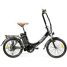 """Moma - Bicicleta Eléctrica Plegable SHIMANO, ruedas de 20"""", Aluminio, Batería Ion-Litio 36V 16Ah"""