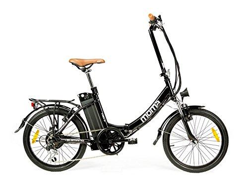 """Moma Bikes - Bicicleta Eléctrica Plegable SHIMANO, ruedas de 20"""", Aluminio, Batería Ion-Litio 36V 16Ah"""