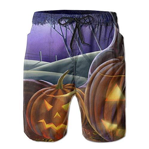 WITHY Mens Beach Shorts, Halloween Jack O Lantern Raven Beach Pants Shorts for Men Boys, Outdoor Short Pants Beach Accessories,(M) (Jack Halloween De Mr)