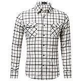 Xmiral Herren Bluse Art und Weise beiläufige Langarmhemd Taschen Lattice Bedruckte T-Shirt (XL,F-Weiß)