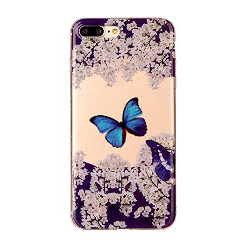 "2 x Coque iPhone 7 Plus Silicone Housse,Etui iPhone 7 Plus Gel Transparente Case Cover Rosa Schleife® 5.5"" Apple iPhone 7 Plus TPU Silicone Gel Souple Case Coque de Protection Portable Smartphone poch Style-6"