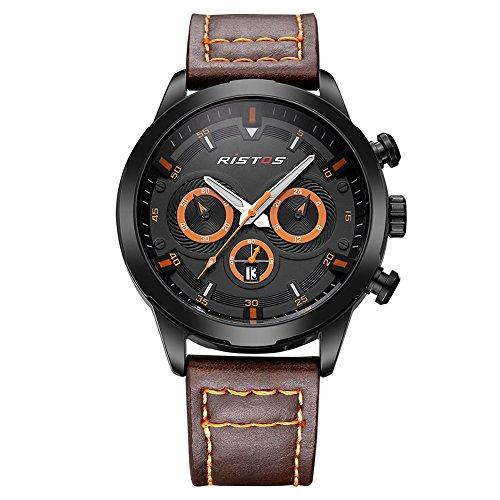 iLove EU Herren Sport Armbanduhr Uhr Analog Quarz Leder 30M Wasserdicht Datum LED-Licht Orange Kaffee WHLSS006-4