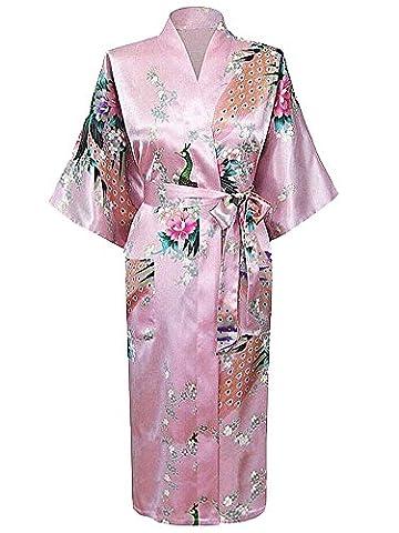 Cityoung-Kimono Japonais en Satin Sexy Robe de Chambre Peignoir-Femme (Rose Clair,XL)