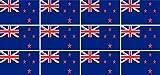 Mini Aufkleber Set - Pack glatt - 50x31mm - selbstklebender Sticker - Neuseeland - Flagge / Banner / Standarte fürs Auto, Büro, zu Hause und die Schule - 12 Stück