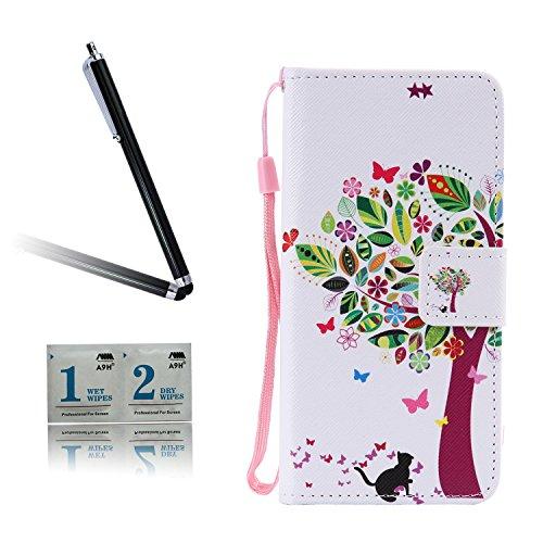 ARTLU® BQ Aquarius M5.0 Schlinge Taschen Schalen PU Leder Tasche Schutzhülle Hülle Handy Etui Schale mit Ständerfunktion und Kreditkartenfächer für BQ Aquaris M5 (5.0 inches)A05
