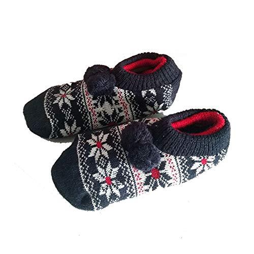Fenverk 1 Paare Erwachsene Kinder WäRmer Socke Gestrickt Muster Slipper Socken Thermal Schlafen Sie Weich GemüTlich Oben Bett Zuhause Booties Winter Warm GebüRstet Haus Schuh(Navy,Erwachsene) - Bootie Navy