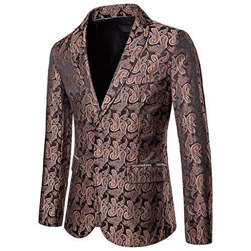Vovotrade Herren Abend Party Sakko Blazer Männer Revers Einreiher Formell Muster Anzugjacke Elegant Slim Fit Jacket Anzug Mantel Freizeit Hochzeit Club Karneval Kostüm - Prime Rib Kostüm