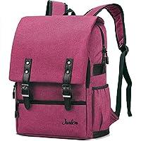 Junlion Vintage Laptop Backpack Professional Casual Rucksack Solid Color Canvas Travel Bag for Women and Men Wine Red
