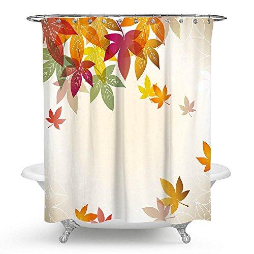 KISY Art Ahorn Blätter Wasserdicht Bad Duschvorhang Retro Autumn Maple Tree Badezimmer Dusche Vorhang Standard Größe 177,8x 177,8cm -