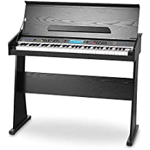 FunKey 24562 FunKey DP-61 II - Piano digital (madera, 61 teclas, 2 altavoces integrados, batería NiCAD), negro