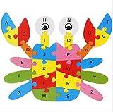 RUIIO 26Holz Alphabet englischen Buchstaben Puzzle Educational Spielzeug Geschenk für Kinder Kinder, holz, Krebs, 25x21x0.4cm