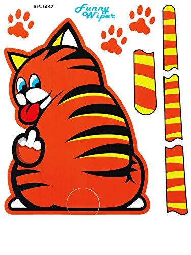 Quattroerre 1247Funny Wipers Scheibenwischer-Aufkleber für Auto-Heckscheibe braun lustiges Katzenmotiv