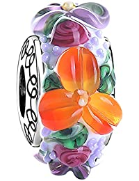 Soufeel 925 Sterling Silber Blume Meer Murano Glas Damen Charm Bead Anhänger