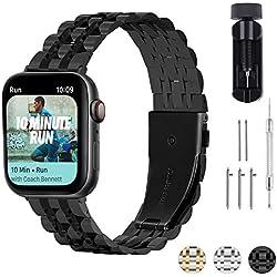 Fullmosa 3 Couleurs Bracelet Compatible avec Apple Watch 38mm/40mm/42mm/44mm, Armor Bracelet en Acier Inoxydable pour iWatch Series 4/3/2/1, Noir Mat + Noir Poli