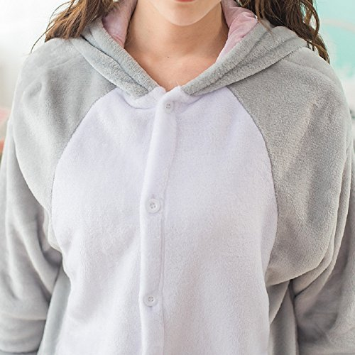 Unisex Einteiler-Pyjama, Erwachsene Flanell Schlafanzug, Tier-Schlafanzug Onesie Koala-Bär L - 7