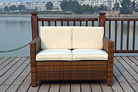 New Twin Rattan Wicker Conservatory Outdoor Garden Furniture Set Light mixed brown by UK Leisure World