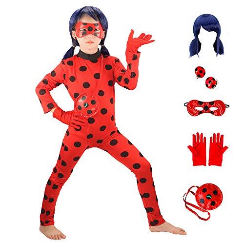 GREATCHILDREN Miracolosa Coccinella Ragazze Costumi Cosplay di Halloween di Natale per Le Ragazze Parrucca Bambini Coccinella Marinette Cosplay Ragazze Si Vestono (L(115-125))