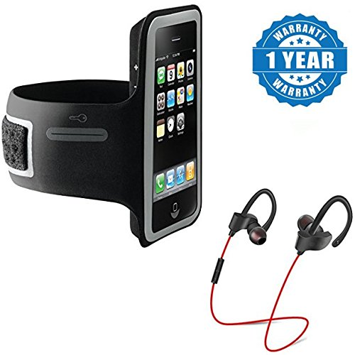 Captcha suitable with Mi Redmi Note 3 Sports Armband Case Arm Holder for Cell Phone With QC-10 Jogger Sports Bluetooth Headset V4.1 With Mic