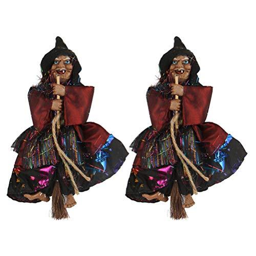 Hexen-Dekoration, hängende Hexe, für Halloween-Party, Schwarz, 2 Stück ()