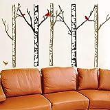 Dalxsh HerbstBaumstamm Wandkunst Wandtattoo Home Kunst Aufkleber Wohnzimmer Sofa Hintergrund Fünf GroßenBaumstammTapete Decor60X90 Cm