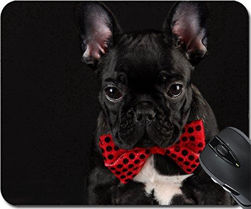 MSD 8085603 Mauspad aus Naturkautschuk, Motiv: Französische Bulldogge mit roter Fliege auf schwarzem Hintergrund (Cute Mouse Kostüm)