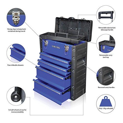 US PRO TOOLS blau Work Center Werkstatt Kunststoff Stahl Mobile Rolling Brust Trolley Cart Schrank...