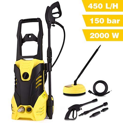 lichire 2000W Hochdruckreiniger, max. 150 bar 450 L/H, Vollkupfermotor Elektrischer Hochdruckreiniger mit solidem Griff, Schlauchtrommel, Reinigungsmitteltank, für Auto, Haushalt, Garten