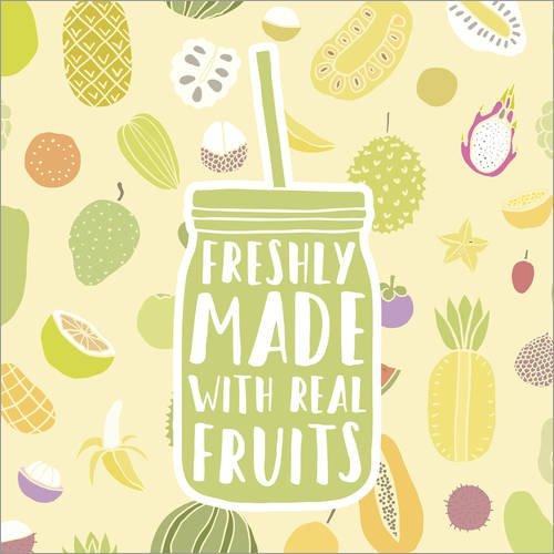 Posterlounge Leinwandbild 40 x 40 cm: Fruchtiger Smoothie von Editors Choice - fertiges Wandbild, Bild auf Keilrahmen, Fertigbild auf echter Leinwand, Leinwanddruck