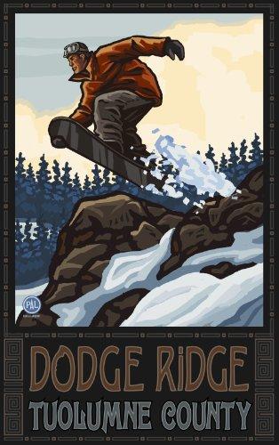 Northwest Art Mall Doge Ridge Tuolumne County Snowboarder Jumping Hills Rocks Artwork von Paul A. Lanquist, 28 x 43 cm