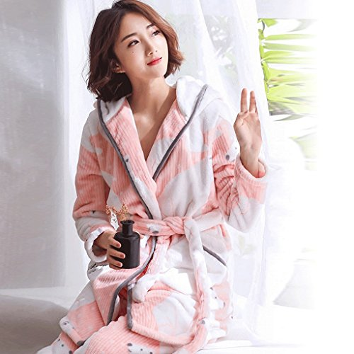 ZLR Lady Thickening Pyjamas A maniche lunghe Cute Cartoon accappatoi Home Clothes Set ( Colore : Blu , dimensioni : L. ) Rosa