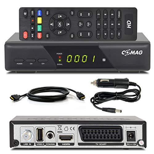 Comag HD25 Volks-Receiver + KFZ Kabel + HDMI Kabel/Camping HDTV HD Satelliten Receiver SAT schwarz + USB 2.0, DVB-S2, SCART HDMI EasyFind Easy Find digital digitaler 12V 230V