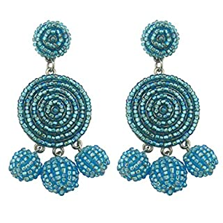 BOCAR Statement Beaded Dangle Earrings Bubble Drop Pendant Ball Soiree Stud Earrings for Women Girl Gift (ER-1087-adriatic blue)
