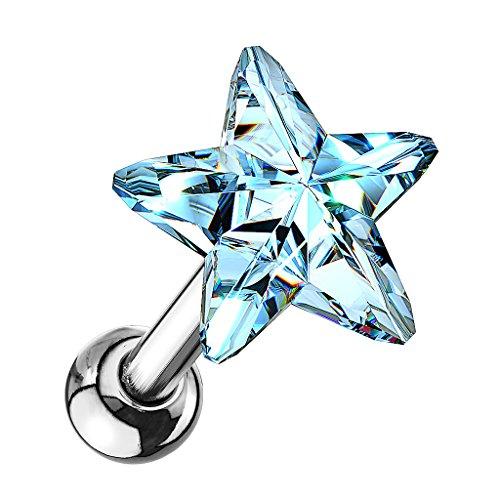 Piersando Tragus Helix Ohr Piercing Cartilage Knorpel Stab Stecker 316 L Chirurgenstahl mit Stern Kristall Silber Hellblau
